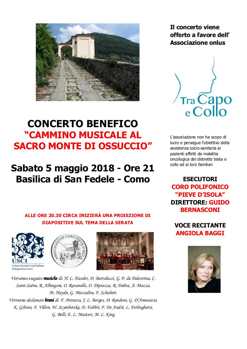 Concerto Benefico Cammino Musicale al Sacro Monte di Ossuccio